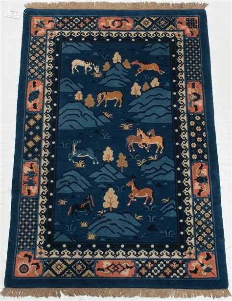 rugs from china rra 4x6 antique finish animals field cobalt blue rug 014076 ebay
