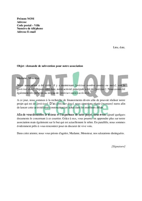 Exemple De Lettre De Demande De Financement Pour Un Projet lettre de demande de subvention pour une association