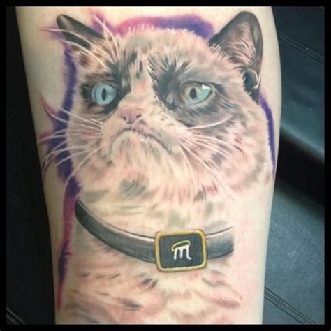 black and white cat tattoo 35 awesome grumpy cat tattoos