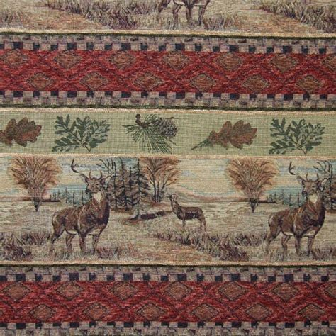 wildlife upholstery fabric deer leaf freize upholstery fabric mountain lodge deer