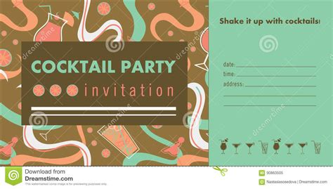 Cocktail Invitation Card Template by Cocktail Horizontal Invitation Card Template With