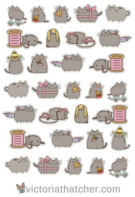printable stickers cricut pusheen cat cricut ready printable free planner stickers