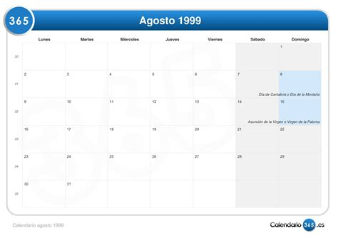 Calendario De 1999 Calendario Agosto 1999