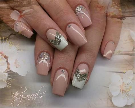 beige color nails beige nails with glitter accent iky nails
