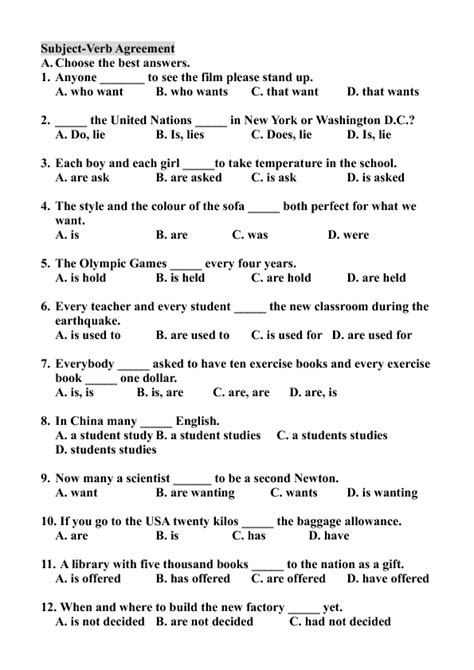 pattern of subject verb agreement esl subject verb agreement worksheets worksheets for all