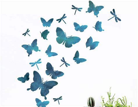 Wall Art Stickers Kitchen watercolour butterfly and dragonfly wall sticker set