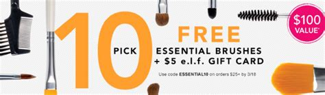 Elf Cosmetics Gift Card Code - 10 free e l f makeup brushes 5 gift card with 25 purchase