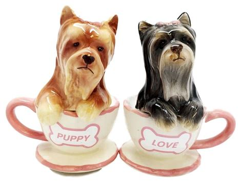 yorkie salt and pepper shakers terriers teacup yorkie puppy ceramic salt pepper shakers it s