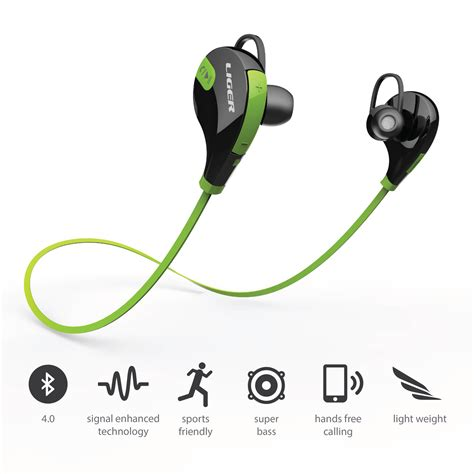 Jogger Sport Bluetooth Earphone With Microphone Qy8 bluetooth sport earbuds xs700 green liger electronics touch of modern
