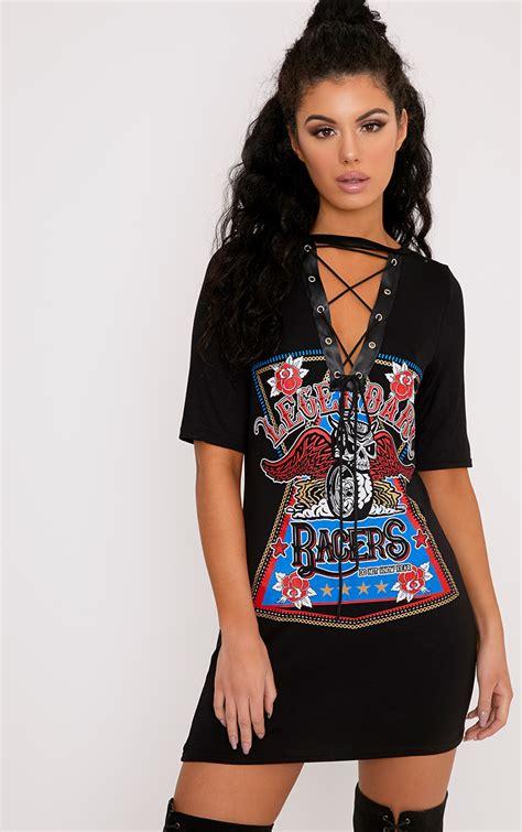 Tshirt Dress On racers black lace up t shirt dress club dresses l find