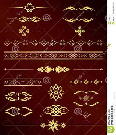 Gold Vintage Design Elements Vector | gold vintage vector elements for design set royalty free