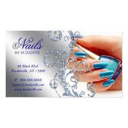 nails business card nail salon business card glitter blue silver zazzle