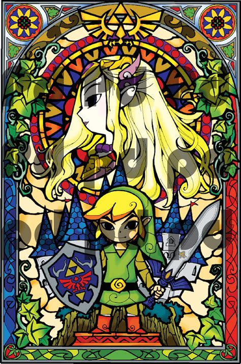 Zelda Wall Mural zelda stained glass wall mural decal zelda video game