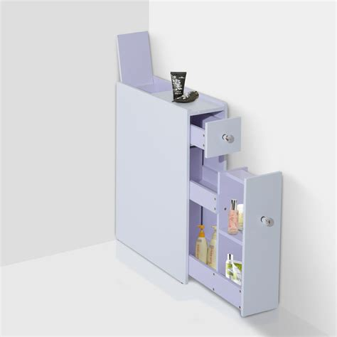 Homcom narrow wood floor bathroom storage cabinet organizer shelves bath toilet ebay