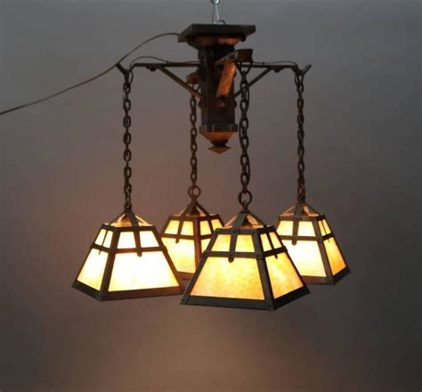 Slag Glass Chandelier Antique Arts And Crafts Four Arm Chandelier With Slag Glass Shades Circa 1910 At 1stdibs