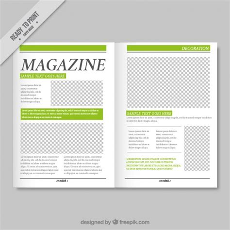 free magazine template simple magazine template with green details vector free
