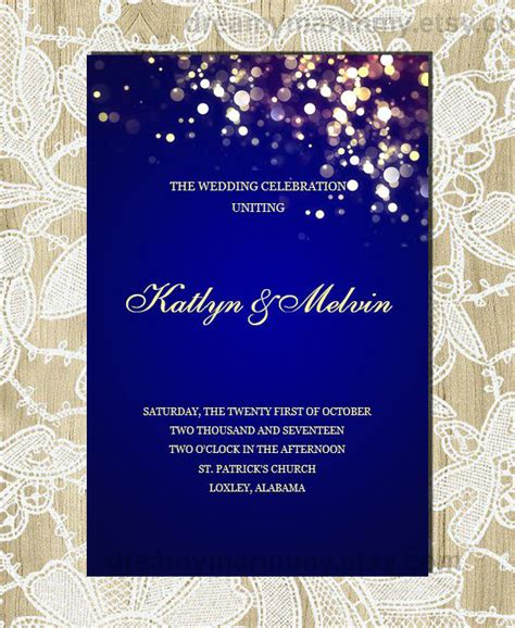17 Wedding Program Template Free Premium Templates Navy Blue Wedding Invitation Templates