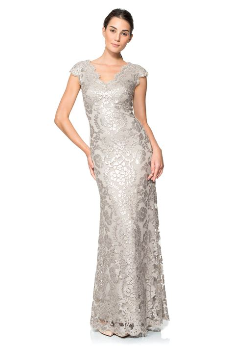 paillette embroidered lace scalloped  neck gown tadashi