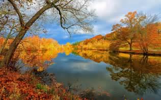 fall landscaping autumn reflections desktop wallpaper