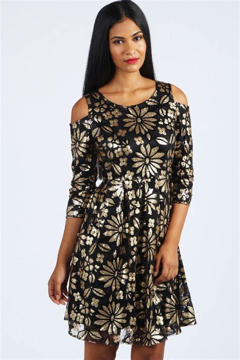 Jumpsuit Cut Layla layla cut out shoulder floral sequin dress black black