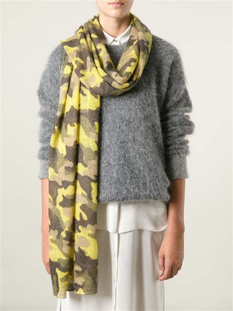 yellow pattern scarf michael michael kors camouflage pattern scarf in yellow lyst