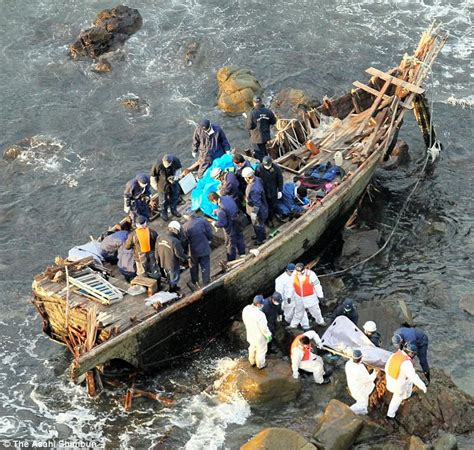 china japan fishing boat incident ramshackle boat containing five rotten bodies washes up in