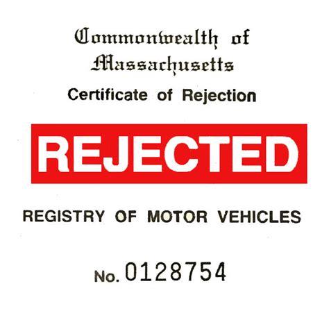 Rejection Sticker massachusetts rejection sticker 70s 20 00 bob hoyts