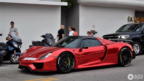 widebody porsche 918 highlight porsche 918 spyder mit folierung in chrom rot