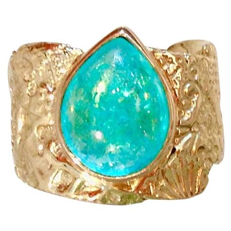 Tourmaline Paraiba paraiba tourmaline gold seascape ring at 1stdibs