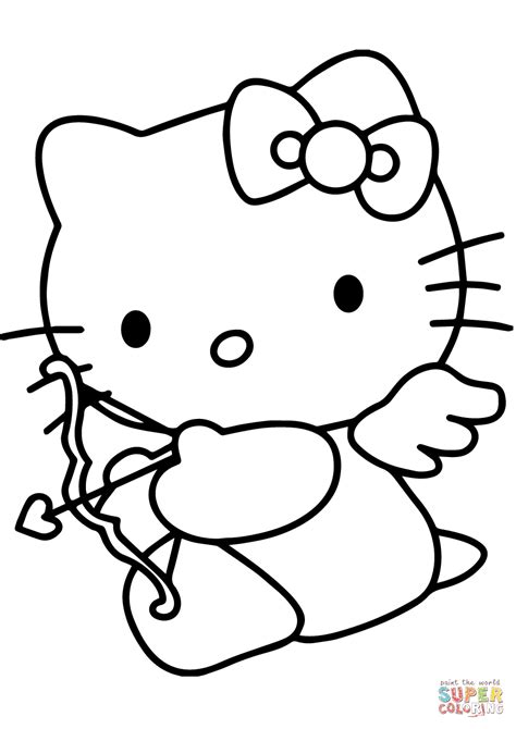 valentines day coloring pages hello kitty hello kitty valentine s day cupid coloring page free