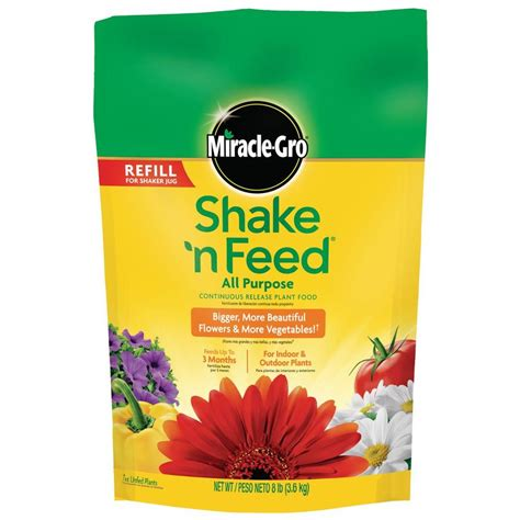 all flower food miracle gro shake n feed 8 lb all purpose continuous release plant food refill bag 110570
