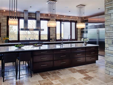 large kitchen islands with seating and storage cabinets