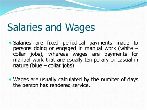 wages for and salaries and wages