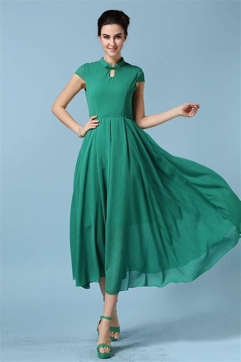 style green classic style high waist chiffon maxi dress green on luulla