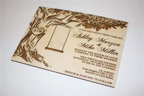 Wedding Invitations With Woods Themes by Tree With Swing Wedding Invitations Wood Invitation Oak