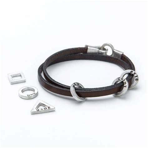 rugged leather mens charm bracelet by kimberley selwood