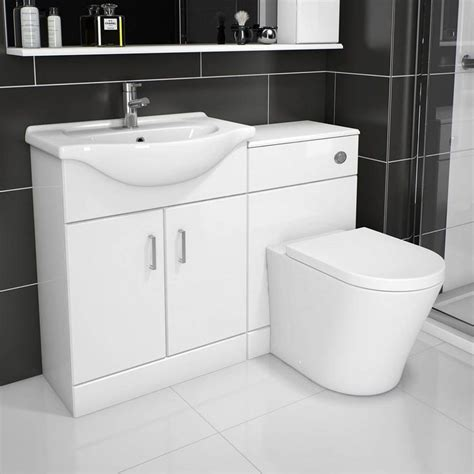 arc white gloss combination vanity unit small