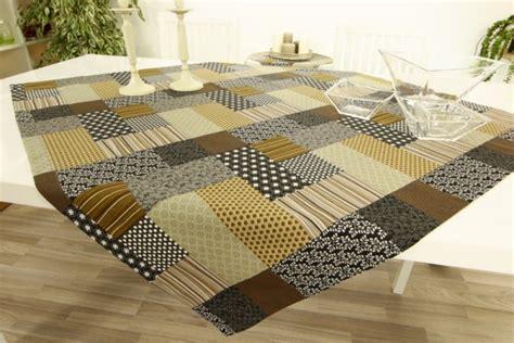 tischdecke in patchwork design schwarz braun grau ab 80x80