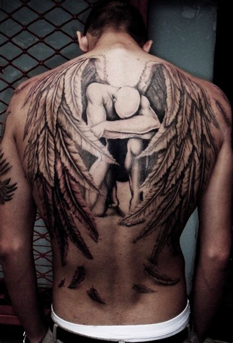 Angel Tattoo At The Back | fashion buster angel tattoos for men