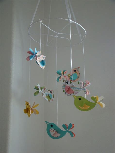 Bird Decor For Nursery Bird Baby Mobile Pretty Birds Baby Mobile Bird Nursery Decor Colorful Bird Mobile Large