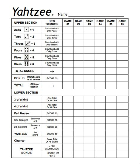 Yahtzee Score Card Template by Sle Yahtzee Score Sheet 8 Free Documents In Pdf Xls