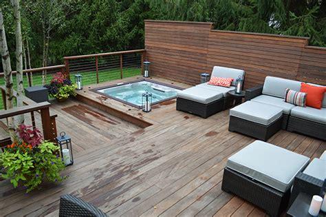 modern deck sunken hot tub close  landscaping outdoor