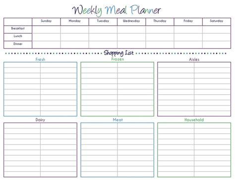 weekly meal planner with grocery list template 7 best images of grocery list template printable amenable