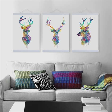 3 piece living room design with modern home design ideas aliexpress com buy 3 piece colorful deer art painting