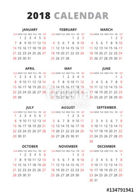 Calendar 2018 Starting Sunday Quot 2018 Year Simple Style Text Calendar Week Starts From