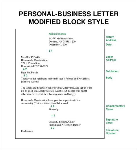 Personal Business Letter Modified Block Style business letters free