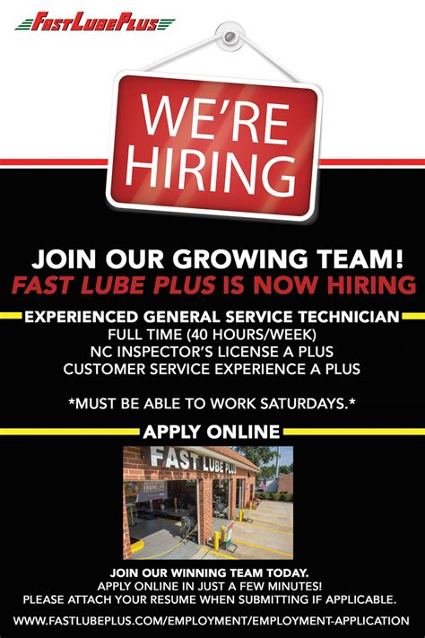 We Re Hiring Mechanic Jobs Fast Lube Plus We Are Hiring Flyer Template