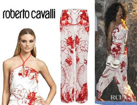 Who Wore Roberto Cavalli For Hm Better Longoria Or Milian by Rihanna S Roberto Cavalli Scarf Halter Top And Roberto