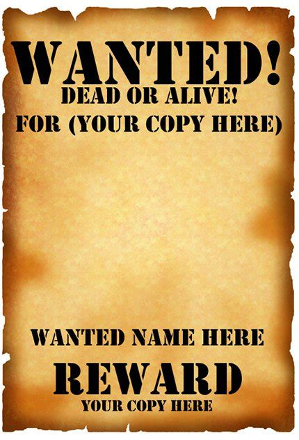 Wanted Poster Template Free Printable Images Wanted Poster Template