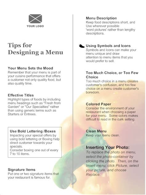 effective menu design and layout for restaurants menu creating an effective menu design see exles